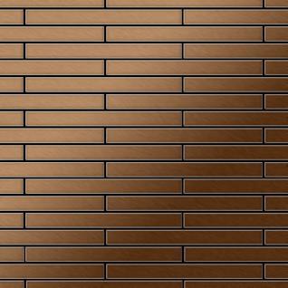 Mosaik Fliese massiv Metall Titan gebürstet in kupfer 1, 6mm stark ALLOY Avenue-Ti-AB 0, 74 m2