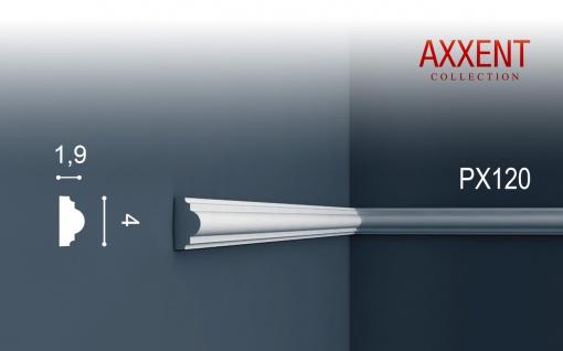 Profilleiste Friesleiste Stuck PX120 AXXENT Wandleiste Zierleiste profil Wand Rahmen Dekor Element | 2 Meter