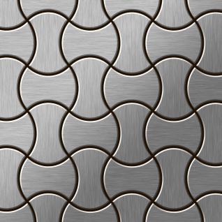 Mosaik Fliese massiv Metall Edelstahl marine gebürstet in grau 1, 6mm stark ALLOY Infinit-S-S-MB Designed by Karim Rashid 0, 91 m2