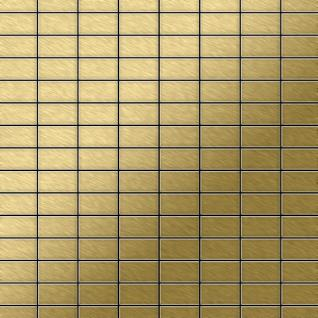 Mosaik Fliese massiv Metall Titan gebürstet in gold 1, 6mm stark ALLOY Bauhaus-Ti-GB 1, 05 m2