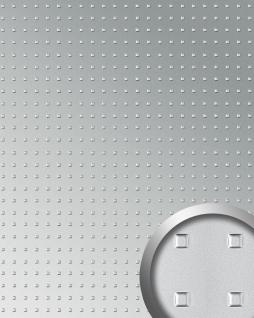 Wandpaneel 3D WallFace 11279 SQUARE Struktur Decorplatte Metalloptik Dekorpaneel selbstklebend silber | 2, 60 qm