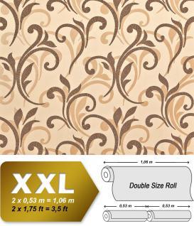 Blumen Tapete XXL Vliestapete EDEM 928-26 Abstraktes florales Muster Design Blumentapete braun hellbraun karamell beige 10, 65 m2