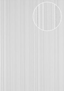 Streifen Tapete Atlas PRI-7405-1 Vliestapete glatt Design glitzernd weiß perl-weiß silber seiden-grau 7, 035 m2