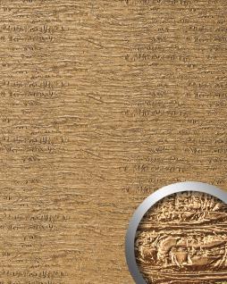 Wandpaneel Luxus Struktur Leder WallFace 15660 PERSIAN TREASURE Wand-verkleidung selbstklebende Tapete gold | 2, 60 qm