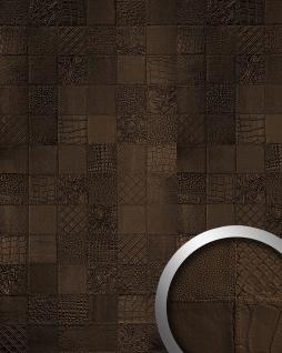 Wandpaneel Luxus Leder WallFace 15038 COLLAGE Blickfang Dekor Verkleidung selbstklebende Tapete mocca-braun | 2, 60 qm