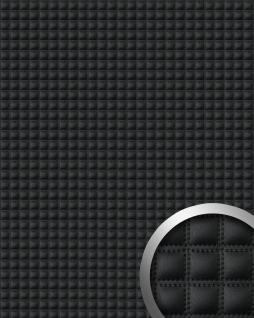 Wandpaneel Quadrat Leder WallFace 15032 QUADRO Luxus Blickfang EyeCatch Dekor selbstklebende Tapete schwarz | 2, 60 qm