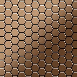 Mosaik Fliese massiv Metall Titan gebürstet in kupfer 1, 6mm stark ALLOY Honey-Ti-AB 0, 92 m2