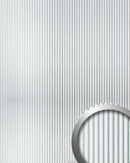 Wandpaneel 3D Rillen-Struktur WallFace 11355 WAVE Verkleidung Metalloptik selbstklebend silber metallic | 2, 60 qm