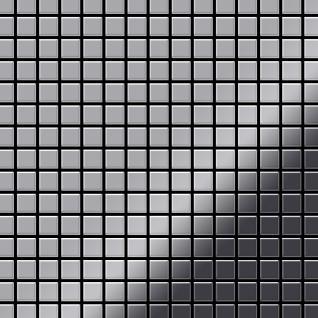 Mosaik Fliese massiv Metall Edelstahl hochglänzend in grau 1, 6mm stark ALLOY Mosaic-S-S-M 1, 04 m2