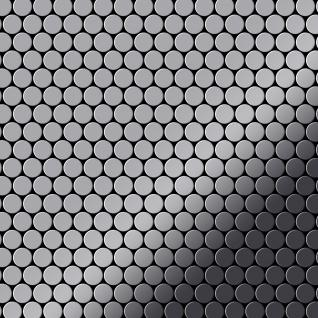 Mosaik Fliese massiv Metall Edelstahl hochglänzend in grau 1, 6mm stark ALLOY Penny-S-S-M 0, 92 m2