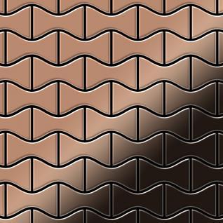 Mosaik Fliese massiv Metall Titan hochglänzend in kupfer 1, 6mm stark ALLOY Kismet-Ti-AM Designed by Karim Rashid 0, 86 m2