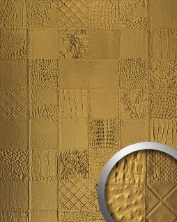 Wandpaneel Luxus 3D Leder WallFace 13926 COLLAGE Blickfang Dekor selbstklebende Tapete Wandverkleidung gold   2, 60 qm