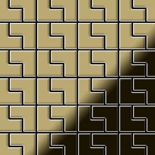 Mosaik Fliese massiv Metall Messing gewalzt in gold 1, 6mm stark ALLOY Kink-BM Designed by Karim Rashid 0, 93 m2