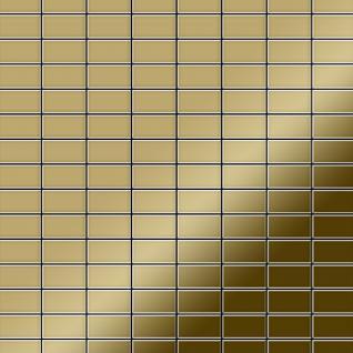 Mosaik Fliese massiv Metall Titan hochglänzend in gold 1, 6mm stark ALLOY Bauhaus-Ti-GM 1, 05 m2