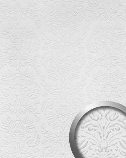Wandpaneel Luxus 3D WallFace 14796 IMPERIAL Leder Dekor Barock Damask Ornament selbstklebende Tapete weiß | 2, 60 qm
