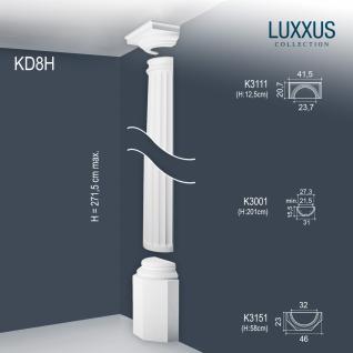 Stuck Halbsäule Komplett Set Orac Decor KD8H LUXXUS Stucksäule klassische antike Relief Form Wand Dekor weiß 2, 71 Meter