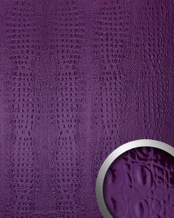 Wandpaneel 3D Luxus Leder WallFace 14319 CROCO Blickfang Dekor Wandverkleidung selbstklebende Tapete violett | 2, 60 qm