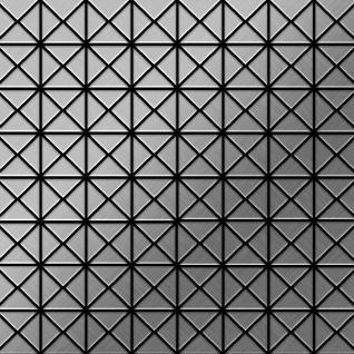 Mosaik Fliese massiv Metall Edelstahl gebürstet in grau 1, 6mm stark ALLOY Deco-S-S-B 1 m2