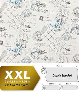 Landhaus Tapete Vliestapete XXL EDEM 904-17 Romantische Mustertapete Blumen Vögel blau hellblau weiß schwarz grau 10, 65 m2