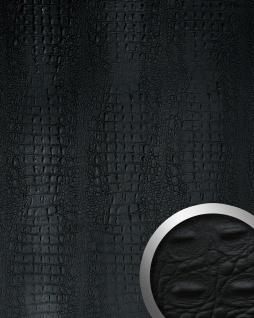 Wandpaneel Luxus 3D Leder WallFace 13408 CROCO Blickfang Dekor Wandverkleidung selbstklebende Tapete schwarz | 2, 60 qm