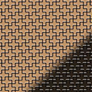 Mosaik Fliese massiv Metall Titan hochglänzend in kupfer 1, 6mm stark ALLOY Swiss Cross-Ti-AM 0, 88 m2