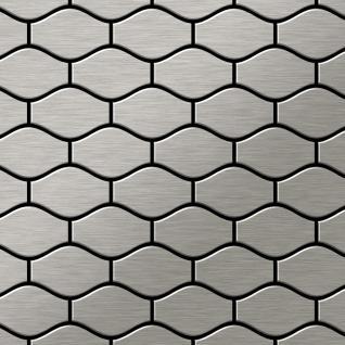 Mosaik Fliese massiv Metall Edelstahl marine gebürstet in grau 1, 6mm stark ALLOY Karma-S-S-MB Designed by Karim Rashid 0, 86 m2