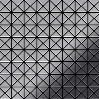 Mosaik Fliese massiv Metall Edelstahl hochglänzend in grau 1, 6mm stark ALLOY Deco-S-S-M 1 m2