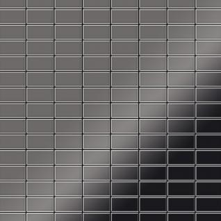 Mosaik Fliese massiv Metall Titan hochglänzend in dunkelgrau 1, 6mm stark ALLOY Bauhaus-Ti-SM 1, 05 m2