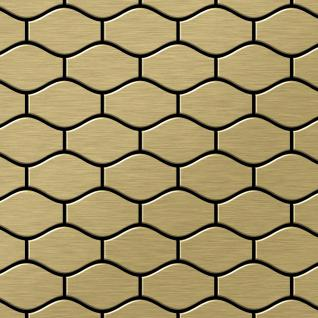 Mosaik Fliese massiv Metall Titan gebürstet in gold 1, 6mm stark ALLOY Karma-Ti-GB Designed by Karim Rashid 0, 86 m2