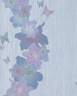 3D Tapete Blumentapete EDEM 108-34 Landhaus Floral Designer Schmetterlinge Blumen weiß-lila helllila blau-violett silber