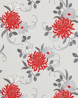 Blumen Tapete Landhaus EDEM 824-20 hochwertige geprägte floral Blumentapete perlweiß rot grau silber-grau weiß 70 cm