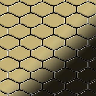 Mosaik Fliese massiv Metall Messing gewalzt in gold 1, 6mm stark ALLOY Karma-BM Designed by Karim Rashid 0, 86 m2
