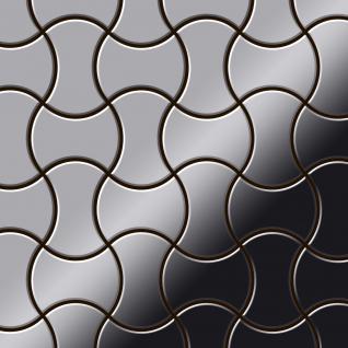 Mosaik Fliese massiv Metall Edelstahl marine hochglänzend in grau 1, 6mm stark ALLOY Infinit-S-S-MM Designed by Karim Rashid 0, 91 m2