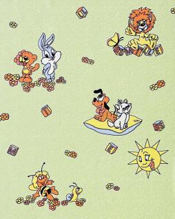 Kindertapete EDEM 007-25 Kinder-Zimmer Tapete Vinyl mit Motiven Löwe Hase Biene Sonne bunte farben pastell-grün