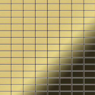 Mosaik Fliese massiv Metall Messing gewalzt in gold 1, 6mm stark ALLOY Bauhaus-BM 1, 05 m2