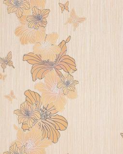 3D Tapete Blumentapete EDEM 108-31 Floral Designer Schmetterlinge Blumen pastell-gelb beige weiß silber dezente Glitzer