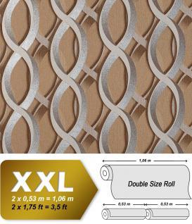 Grafische Muster Retro Tapete Vliestapete EDEM 601-91 Tapete XXL Designer grafische 3D Ketten-Muster retro hell-braun silber grau 10, 65 qm
