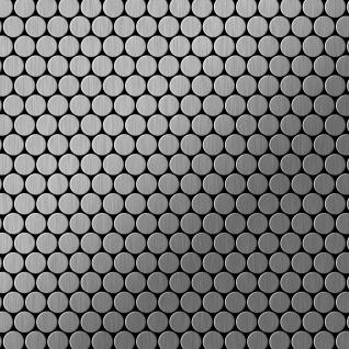 Mosaik Fliese massiv Metall Edelstahl marine gebürstet in grau 1, 6mm stark ALLOY Penny-S-S-MB 0, 92 m2