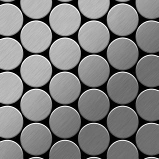 Mosaik Fliese massiv Metall Edelstahl gebürstet in grau 1, 6mm stark ALLOY Medallion-S-S-B 0, 73 m2