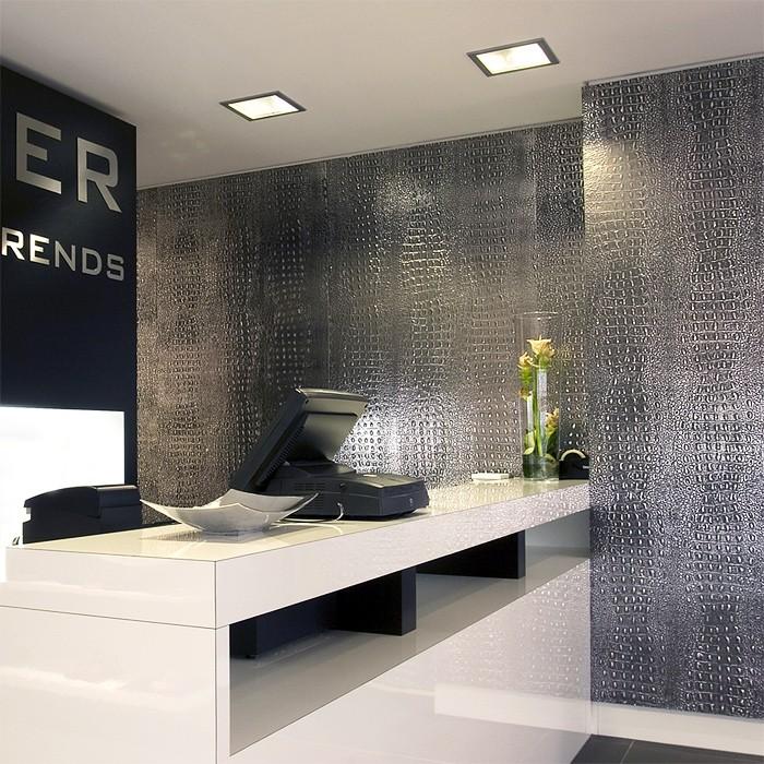 wandpaneel 3d wallface 13521 croco design platte struktur blickfang dekor selbstklebende tapete schwarz silber 2 - Silber Tapete