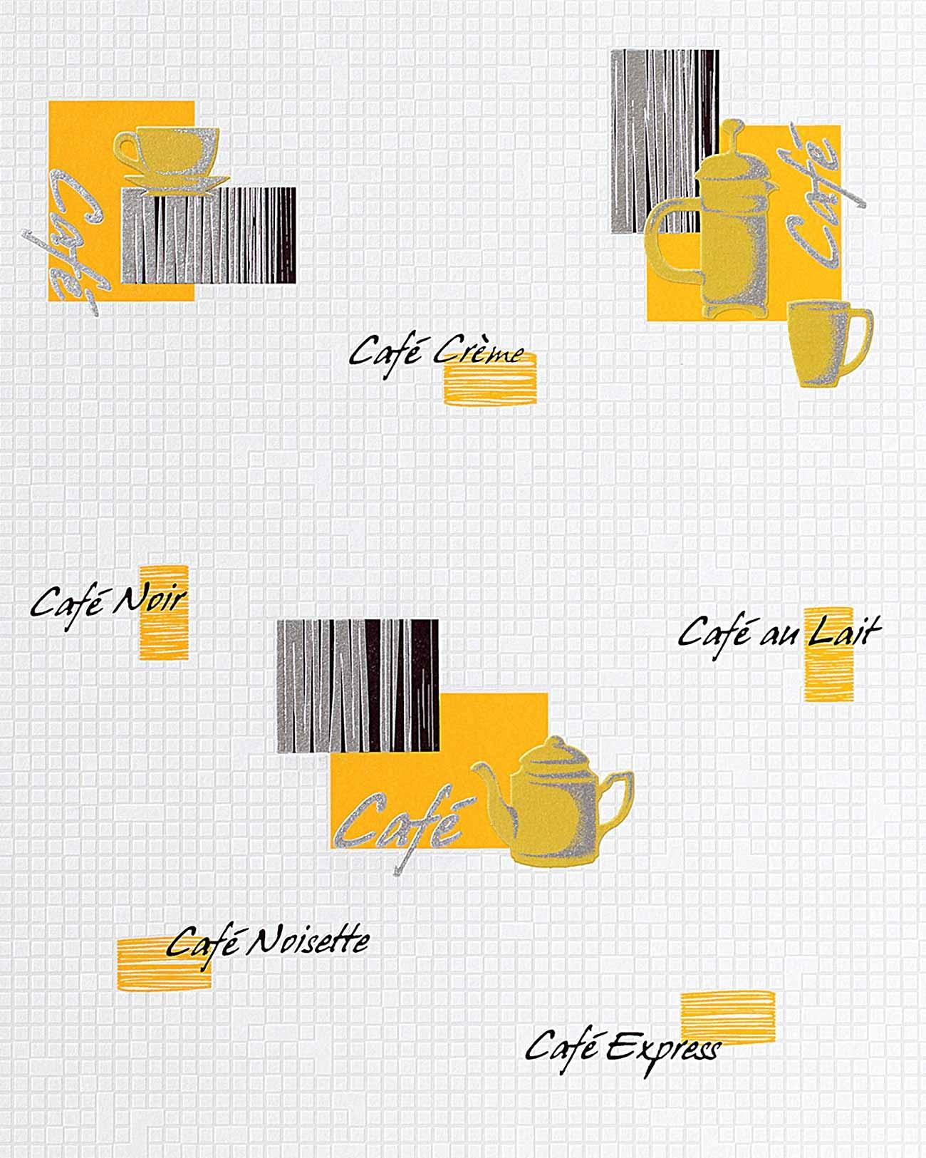 Küchen Tapete Edem 062-21 Tapete Café Kaffeehaus Mosaiksteine ... Badezimmer Zitronengelb