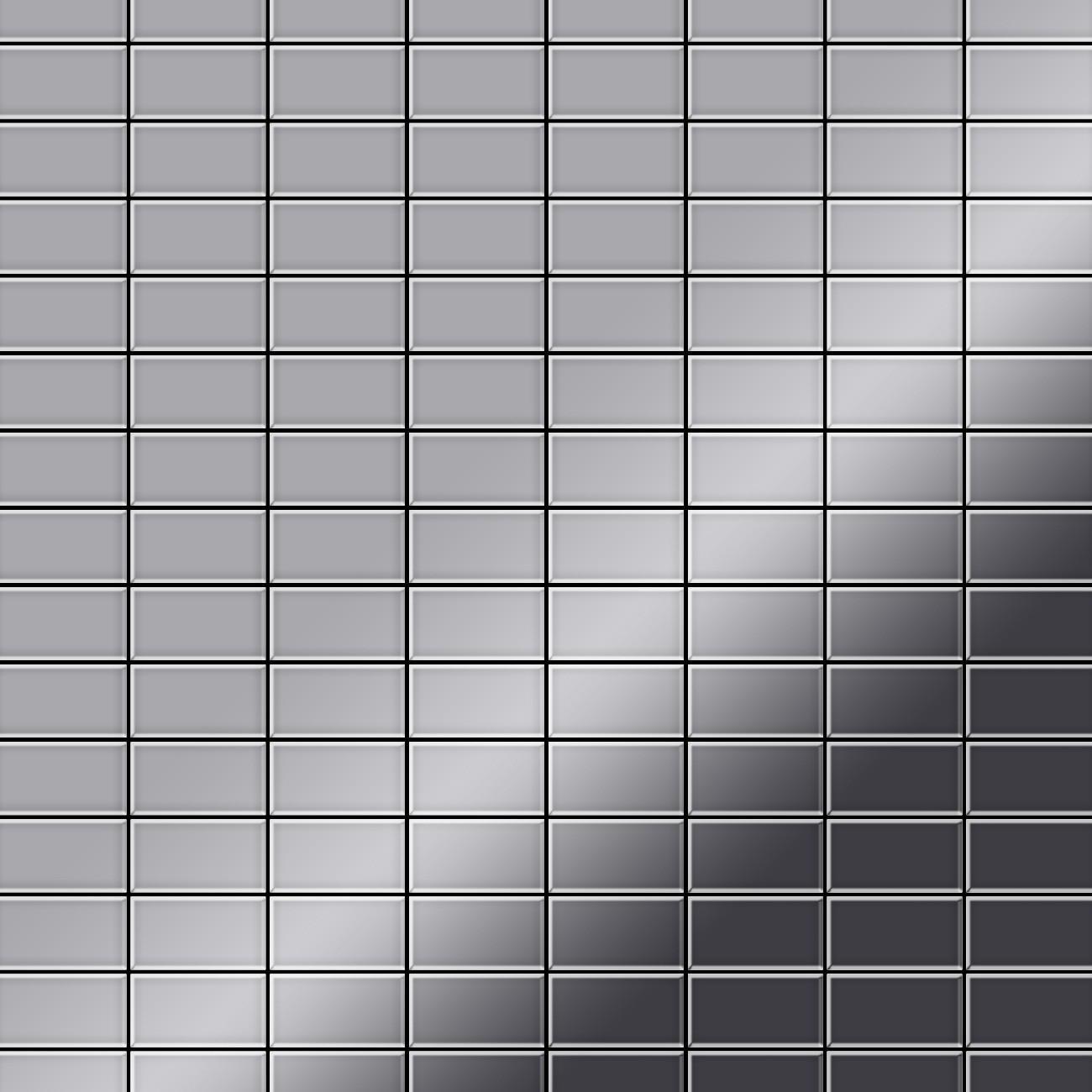 Mosaik fliese massiv metall edelstahl hochgl nzend in grau 1 6mm stark alloy bauhaus s s m 1 - Mosaik fliesen bauhaus ...