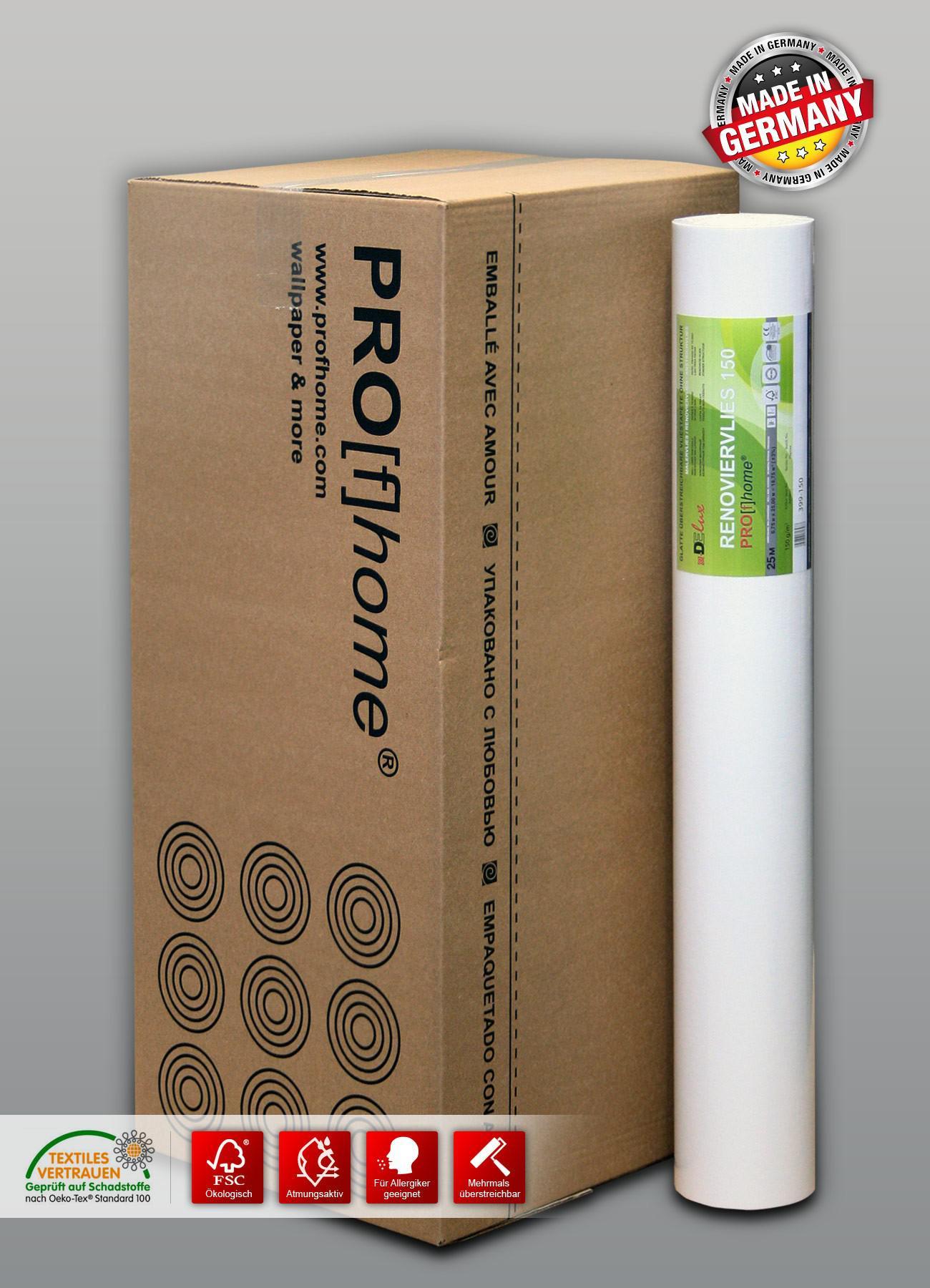 anstrichvlies renoviervlies 150 g malervlies profhome saniervlies 168 75 m2 1 karton 9 rollen. Black Bedroom Furniture Sets. Home Design Ideas