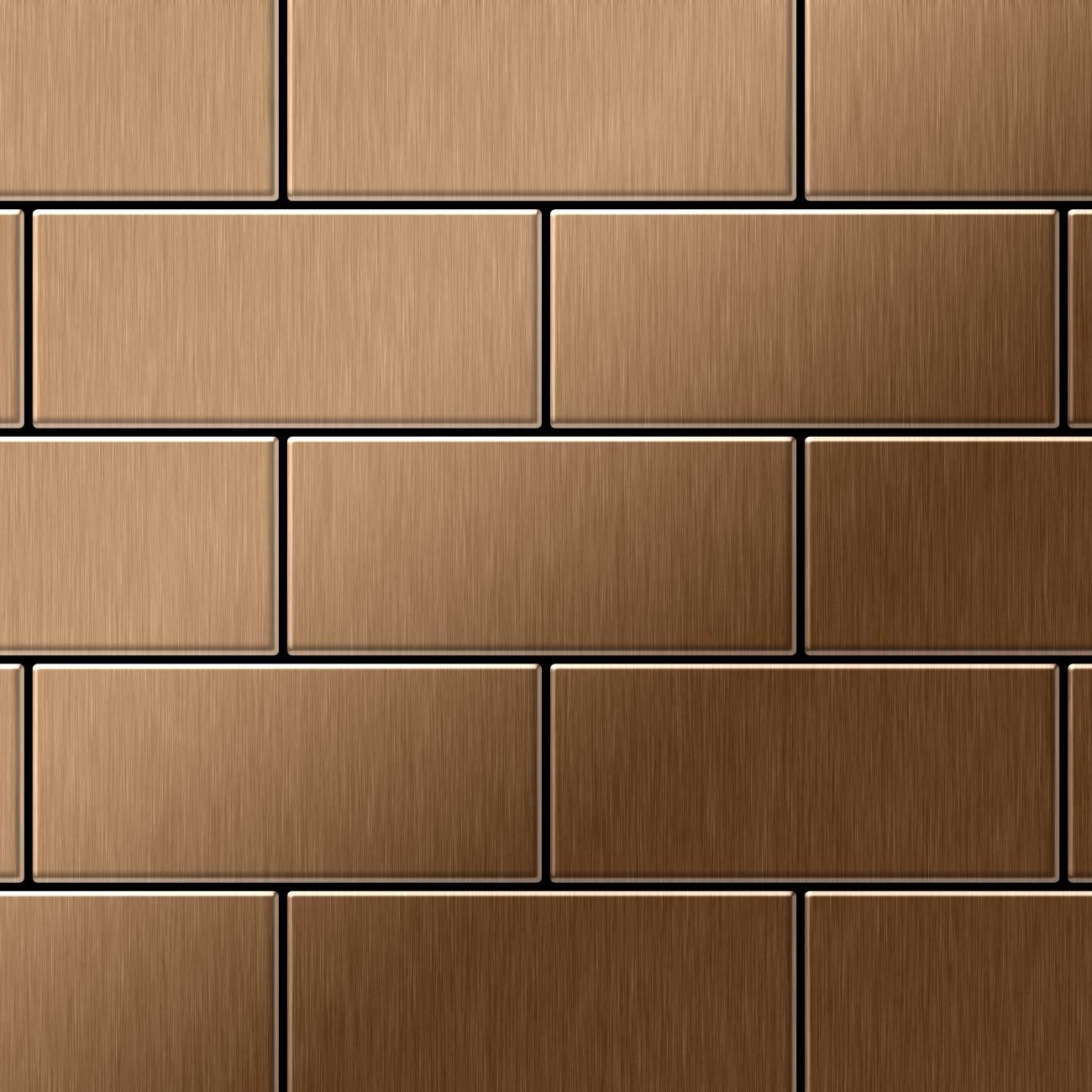 mosaik fliese massiv metall titan geb rstet in kupfer 1 6mm stark alloy subway ti ab 0 58 m2. Black Bedroom Furniture Sets. Home Design Ideas