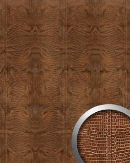 Wandpaneel Leder Blickfang WallFace 15008 LEGUAN Design Dekor Echtnaht selbstklebende Tapete Wandbelag braun   2, 60 qm