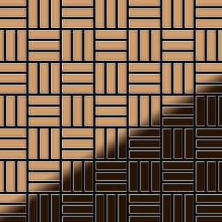 Mosaik Fliese massiv Metall Titan hochglänzend in kupfer 1, 6mm stark ALLOY Basketweave-Ti-AM 0, 82 m2