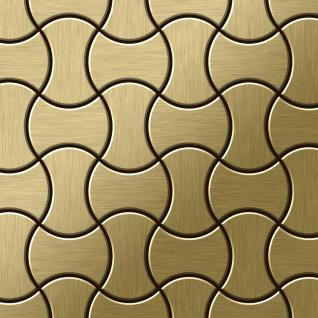 Mosaik Fliese massiv Metall Titan gebürstet in gold 1, 6mm stark ALLOY Infinit-Ti-GB Designed by Karim Rashid 0, 91 m2
