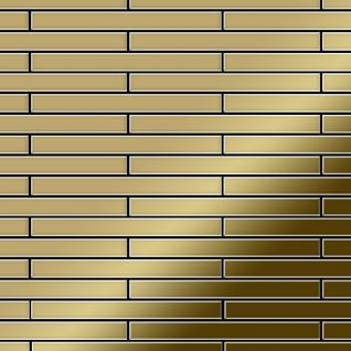 Mosaik Fliese massiv Metall Titan hochglänzend in gold 1, 6mm stark ALLOY Avenue-Ti-GM 0, 74 m2