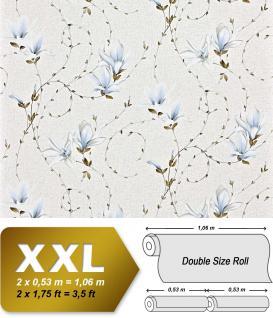 Landhaus Tapete Blumen XXL Vliestapete EDEM 902-17 Florales Design hochwertige Textiloptik blau hellblau weiß creme 10, 65 m2