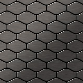 Mosaik Fliese massiv Metall Titan gebürstet in dunkelgrau 1, 6mm stark ALLOY Karma-Ti-SB Designed by Karim Rashid 0, 86 m2
